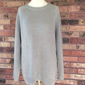 Silver Metallic Gray Long Sweater NY Collection XL